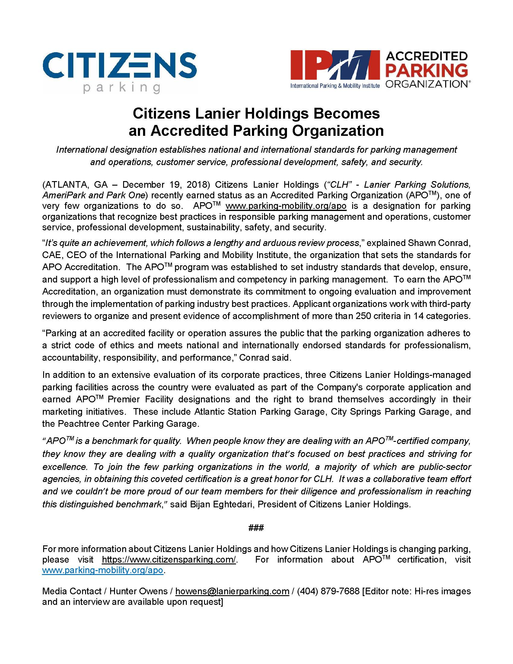 Citizens Lanier Holdings Becomes an Accredited Parking Organization